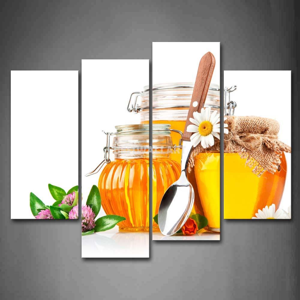 Mel dourado em frasco com flor 4 peça pintura em tela de arte imprimir a imagem alimentos 3 5 fotos(China (Mainland))