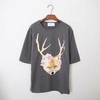 Korean Fashion 2015 Women Summer Tops Deer Wolf Animal Flower Print Funny Shirt Oversized T Shirt Dress 0203P