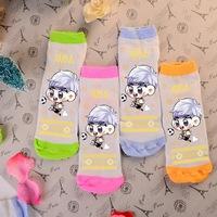 Wholesale cute kawaii Exo XIUMIN candy color four colors green orange pink blue girls' sock cotton kpop k-pop socks