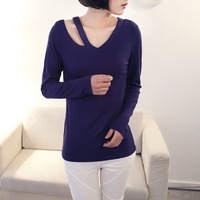 Women Solid Long Sleeve V-Neck Shirt Woman Cotton Slim Sexy Casual Retro Fashion Sexy T-Shirt Female Spring Shirt ZZ028