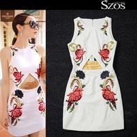 2015 summer sexy women sleeveless one piece dress brand designer dresses hollow out runway dress white