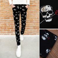 Free shipping! 2015 new men's personality skull print pants casual pants Slim feet
