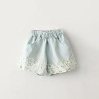 5pcs/lot 2015 spring summer new arrival girls fashion lace floral patchwork denim shorts 1166