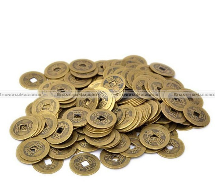 Shanghaimagicbox 100pcs/lot 24mm Chinese Feng Shui Lucky Ching/Ancient Coins set Educational Ten emperors Antique Fortune Money(China (Mainland))