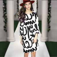 Spring 2015 New Dresses Super High Quality Paris High Street Fashion Casual Elegant White with black letter Print Women Dress