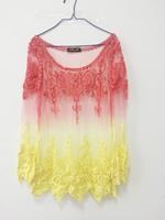 Hollow head women's long-sleeved blouse, crochet lace shirt, loose blouses gradients
