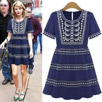 Women dress New 2015 Vestidos Femininos Summer Dresses Nightclubs Embroidered dress Vestido De Festa Plus Size Party Dresses
