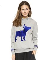 New women hoody Bulldog pattern printing fashion casual sweatshirt loose pullover hooded sport suit terno do esporte moletom