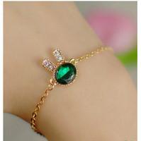 SL091 Hot Fashion 2015 New Navy blue gem diamond delicate rabbit imitation bracelet Wholesale Jewelry Accessories