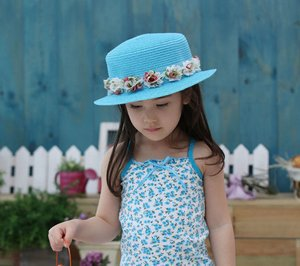 Hot style Little Baby girl straw sun hats Lace flower sunhats for kids wide brim beach hat Children caps baby summer hat Ivy Hat(China (Mainland))
