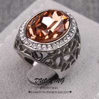 2015 Fashion Rings Kpop Anel Ouro Retro Anel De Prata Vintage Anillos AAA CZ Zircon Hollow Silver Filled Wedding Ring For Women