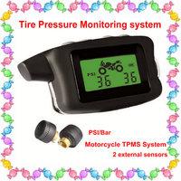 Freeshipping,Motorcycle tpms,2 external sensors,PSI/BAR display,waterproof,tyre pressure monitoring system