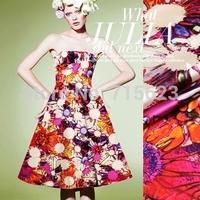 15013105 Free Shipping flower  Digital Printed elastic silk Satin Fabric
