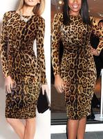 Vestidos Femininos Long Sleeve Women Casual Dress Celeb Leopard Ruched Party Bodycon Pencil Midi Dress B5326 Fshow