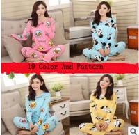 Spring Autumn Women Comfortable Long-sleeve Mile Silk Cute Character  Mickey KT Cat Sleepwear Pajama Sets Nightgowns yc15002