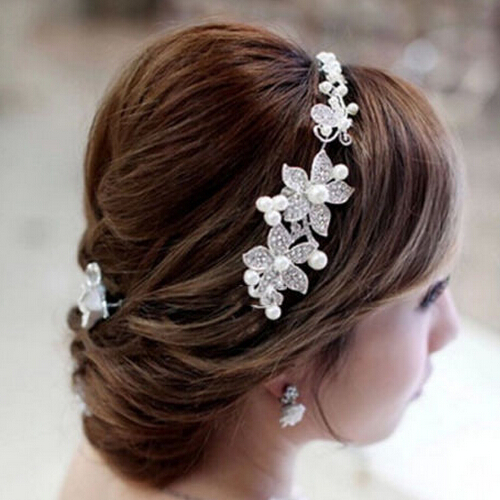 2015 Fashion Crystal Pearl Flower Party Wedding Hair Accessories Bridal Headband Tiara Headwear Silver Plated ZXC75(China (Mainland))