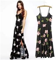 2015  Summer new Ladies' splicing sexy cross halter dress slit strpeless Floral print Dress  A170