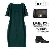 2015 Fashion New Spring Dress Office Lady Style Dark Green Color Women Dress For Work Half-Sleeve Slim Vestidos Mujeres