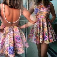 New Ladies' print Dress  2015 printing back hollow beaded dress 1330