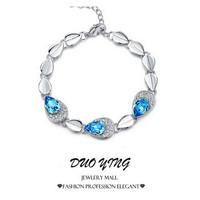 2015 Rock Long European Style pulseras mujer Delicacy Diamante Heart  Rhinestone Silver Crystal Bracelets For Women