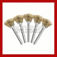 5pcs 15mm brass wire brush For Dremel  Proxxon Rotary Tools-3mm shank Free Shipping