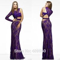 2015 Sexy One Shoulder Long Sleeve Mermaid Floor length Lace Evening Dresses Vestidos Para Festa De Casamento