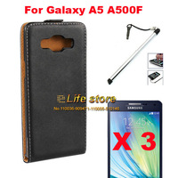Slim Genuine Leather Case Mobile Phone Case +Screen Protector + Mobile Phone Pen For Samsung Galaxy A5 A500F