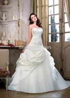 HYL Custom Size New Luxury White/ivory A-Line Beading Applique Bridal Gown Strapless Flowers Satin Floor-Length Wedding Dresses