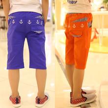Children's pants child 2015 capris anchor 100% cotton male child knee-length pants 8b(China (Mainland))
