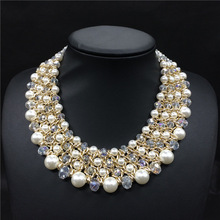 HandWoven Crystal Bead Pearl Necklace For Women Fashion Jewelry Statement Collar Necklace 2015 New Design(China (Mainland))