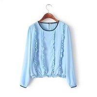 Fashion Ladies Elegant Small Ruffles Deco O Neck Long Sleeve Chiffon Shirt  Blouse Blusas Casual camisas Women Tops