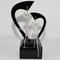 Temperament Fashion Jewelry Super Shiny Double Love Heart Eardrop Women Silver Plated Drop Earrings chaine strass