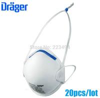 20 Pcs/lot drager original disposable masks particulate respirator anti-fog/haze/PM2.5 mask headband 1350 free ship ZSY012916