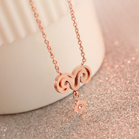 Lucky 18k rose gold single lamb short design necklace female color gold chain accessories