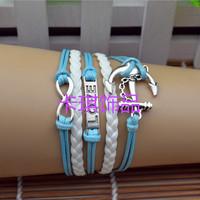 Vintage love  bracelet 8 bracelet anchor wax multi-layer handmade bracelet lead cord bracelet