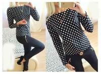 New arrival summer Work Casual polka dot  Women blouses Long Sleeve body blusas femininas Chiffon Blouse women tops Plus Size