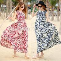 summer Vintage full dress elegant vest 2015 fairy chiffon summer female one-piece dress bohemia dress beach