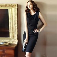 Summer Dress 2015 New Fashion Sleeveless Plus Size S-XXL Woman Dress O-neck For Work Elegant Korean Style Slim Dresses