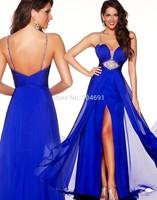 2015 Elegant Long Evening Dress Royal Blue Chiffon Beads A Line Spaghetti Strap Sweetheart Backless Formal Evening Dresses Gown