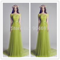 2015 Floor Length A Line Boat Neck Sleeveless Pleat Green Long Evening Dress 2015 Long Tulle Prom Party Gown Vestido de Festa