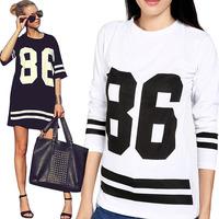 Casual Womens Lady HipHop T-Shirt Sportswear T-Shirt Baseball 86 Print T-Shirt Tops