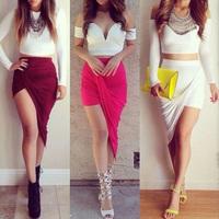 Popular Trends High Waisted Skirt Draped Skirt  Asymmetric Stretch Low Mini Maxi Skirt For Freeshipping