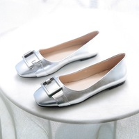 Spring genuine leather square toe shallow mouth flat-bottomed single shoes metal buckle decoration women boat flat shoes lx2486