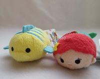 "Set of 2 Mini The Little Mermaid: Ariel Flounder Tsum Tsum 3.5"" Plush Doll"