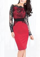 Women Casual Dress Hot Sell Off Shoulder Sheer Long Sleeve Lace Dress Clubwear Vestido De Festa B5330 Fshow