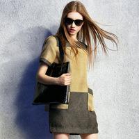 women summer dress 2015 spring fashion slim linen pullovers plus size xl patchwork one-piece dress female casual dress