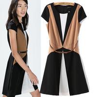 New Fashion 2015 Dress Women European Style Send With Belt Dress O-Neck Short Sleeve Chiffon Work Vestidos Mujeres