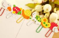 Mini 12PCS Kawaii Wooden Paper Clip Bookmark ; Stationery Book Label Bookmarker Cartoon Mix Book Mark Clip