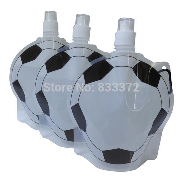 Newest Design Football Sports Water Bottle 8pcs/lot Cartoon Foldable Water Bottle Free Shipping Plastic Football Water Bottle(China (Mainland))