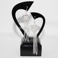 New Water Drop Fashion Women Silver Plated New Tassel Dangle Earrings Retro Long Drop Earrings Women Eardrop
